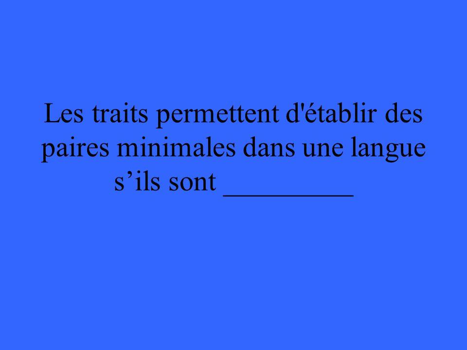 Les traits permettent d'établir des paires minimales dans une langue sils sont _________