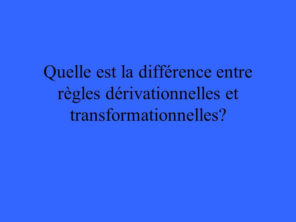 Quelle est la différence entre règles dérivationnelles et transformationnelles?