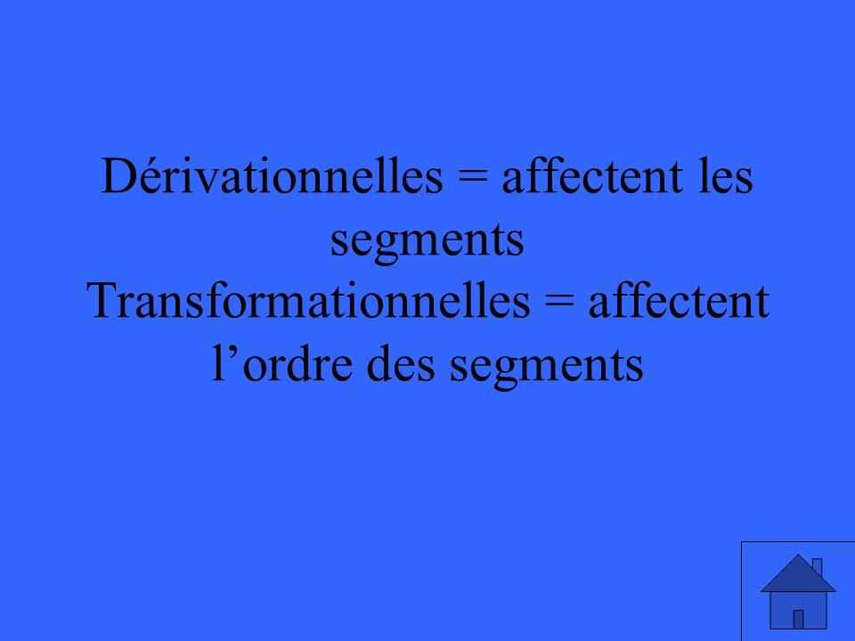 Dérivationnelles = affectent les segments Transformationnelles = affectent lordre des segments