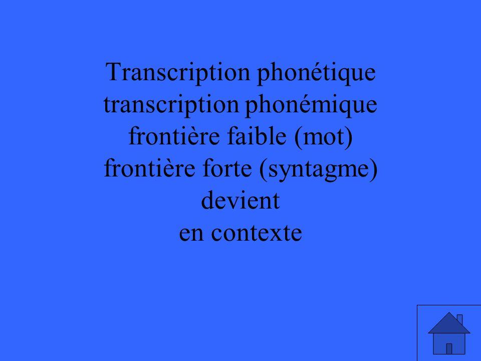 Transcription phonétique transcription phonémique frontière faible (mot) frontière forte (syntagme) devient en contexte