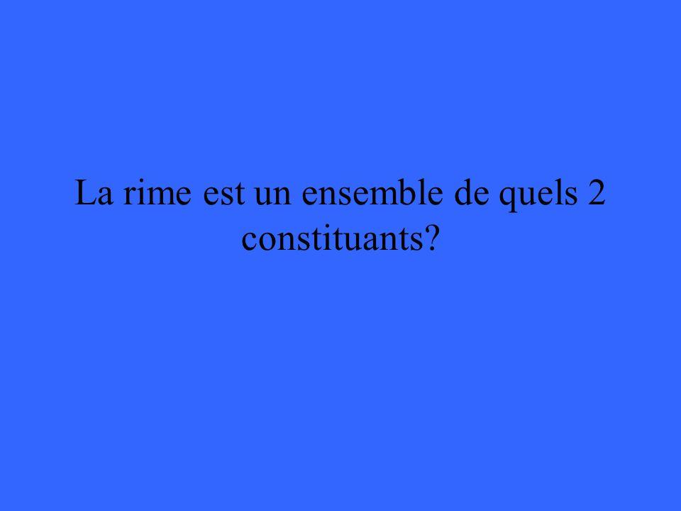 La rime est un ensemble de quels 2 constituants?