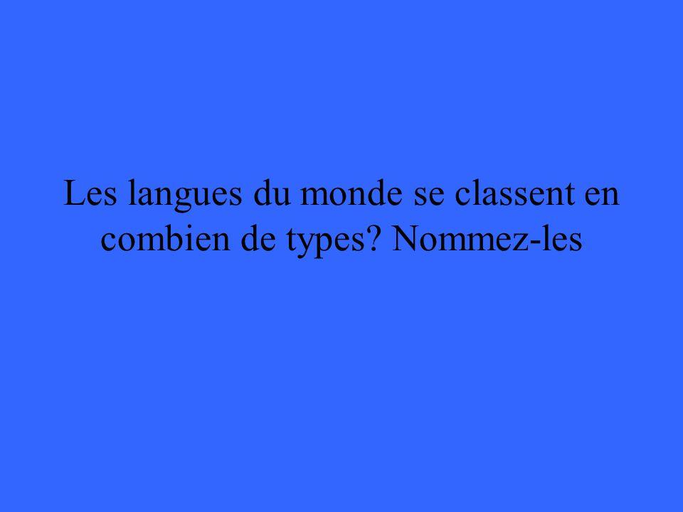 Les langues du monde se classent en combien de types? Nommez-les