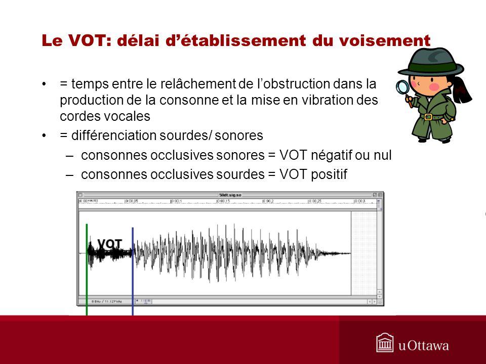 = temps entre le relâchement de lobstruction dans la production de la consonne et la mise en vibration des cordes vocales = différenciation sourdes/ s