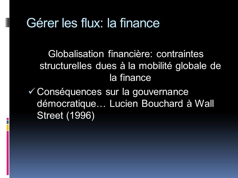 Gérer les flux: la finance Globalisation financière: contraintes structurelles dues à la mobilité globale de la finance Conséquences sur la gouvernance démocratique… Lucien Bouchard à Wall Street (1996)