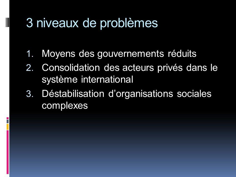 3 niveaux de problèmes 1. Moyens des gouvernements réduits 2.