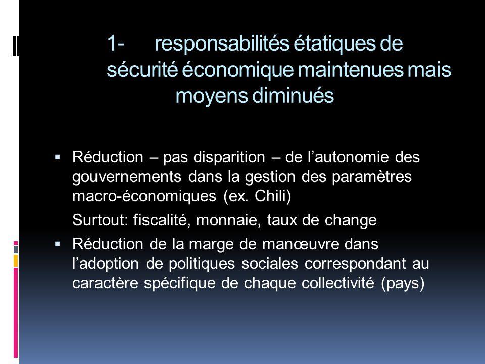 1-responsabilités étatiques de sécurité économique maintenues mais moyens diminués Réduction – pas disparition – de lautonomie des gouvernements dans la gestion des paramètres macro-économiques (ex.