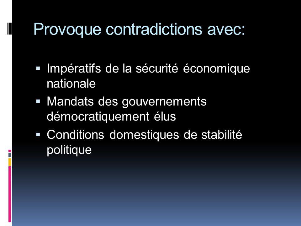 Provoque contradictions avec: Impératifs de la sécurité économique nationale Mandats des gouvernements démocratiquement élus Conditions domestiques de stabilité politique