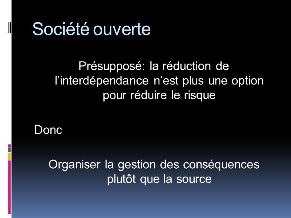 Société ouverte Présupposé: la réduction de linterdépendance nest plus une option pour réduire le risque Donc Organiser la gestion des conséquences plutôt que la source