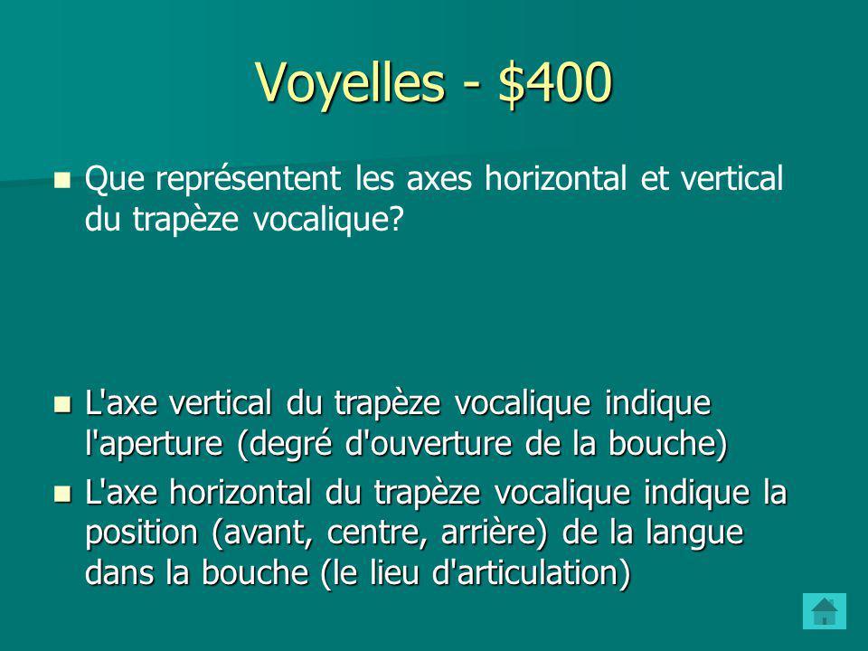 Voyelles - $300 Quelle est la caractéristique articulatoire des voyelles, par rapport aux consonnes? Lair passe librement à partir de la glotte et tra
