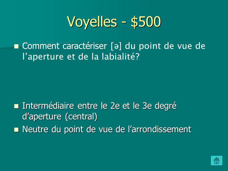 Voyelles - $400 Que représentent les axes horizontal et vertical du trapèze vocalique? L'axe vertical du trapèze vocalique indique l'aperture (degré d