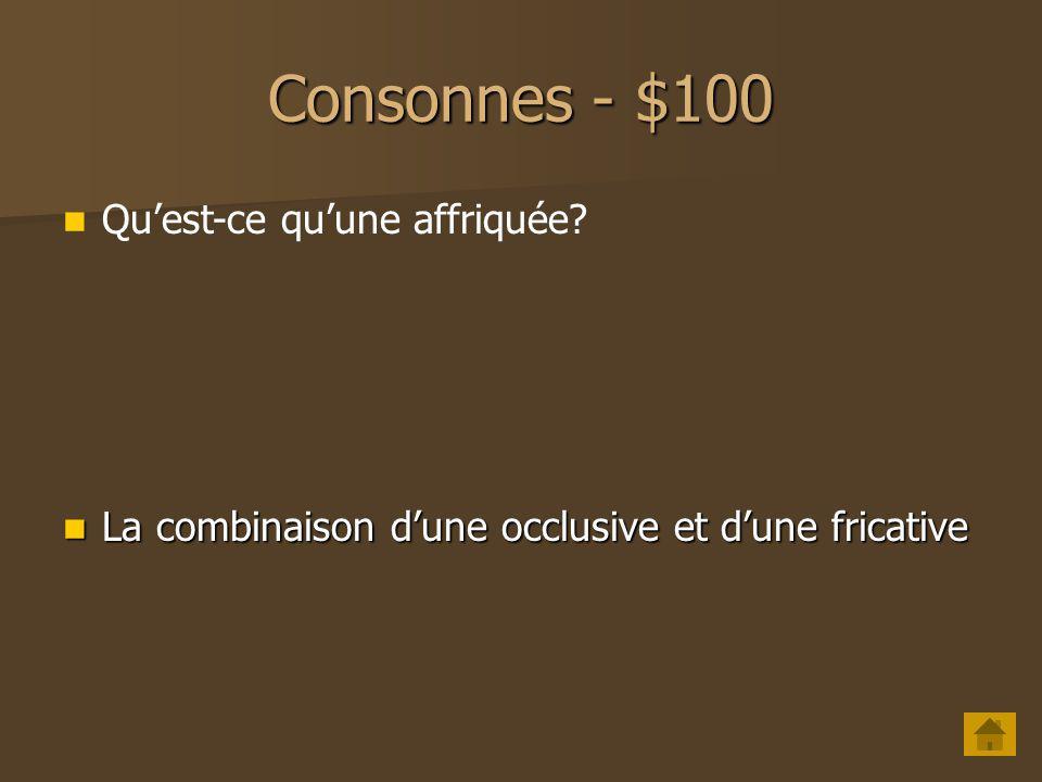 Voyelles - $500 Comment caractériser [ ə] du point de vue de laperture et de la labialité .