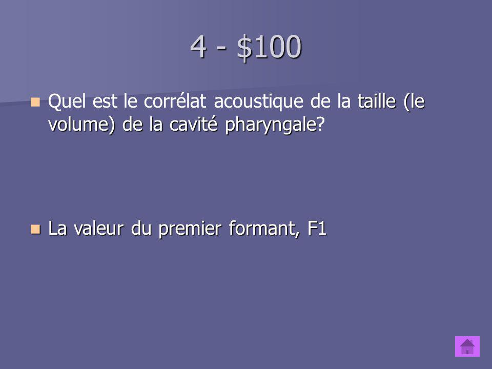 Consonnes - $500 Quels sont les modes darticulation des consonnes, du plus fermé au plus ouvert, selon le tableau de lAPI? Occlusive, nasale, roulée,