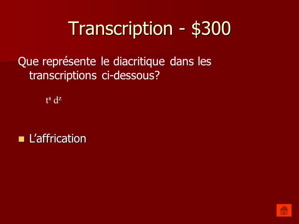 Transcription - $200 Quelle transcription est la plus étroite? Quelle transcription est la plus étroite? –[p əti] –[p ətˢɪ]
