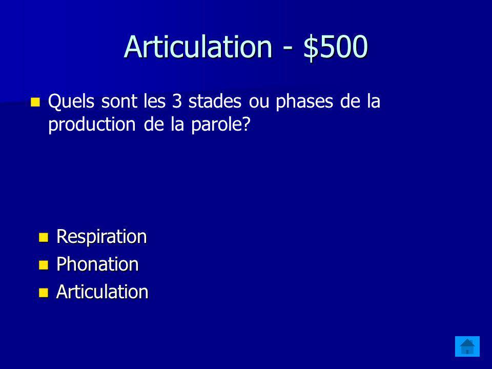 Articulation - $400 abialisation À quel paramètre articulatoire se rapporte la labialisation? La La position des lèvres
