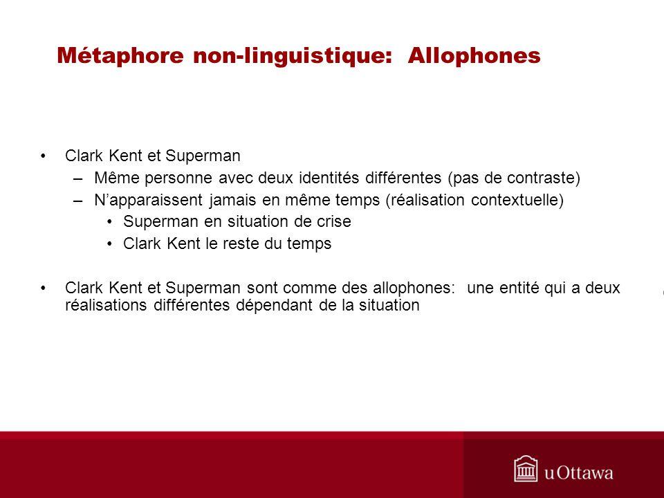 Métaphore non-linguistique: Allophones Clark Kent et Superman –Même personne avec deux identités différentes (pas de contraste) –Napparaissent jamais