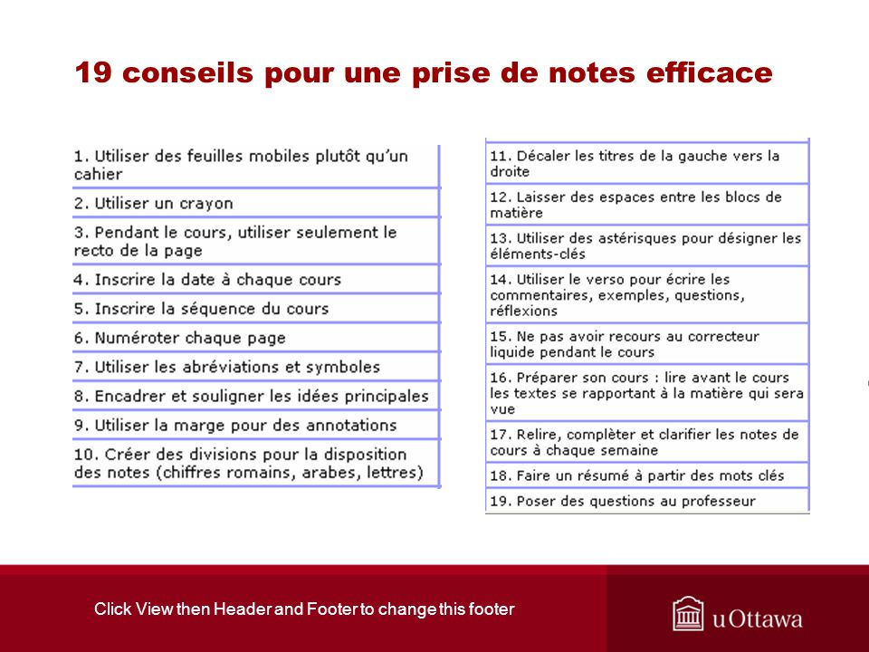 Click View then Header and Footer to change this footer 19 conseils pour une prise de notes efficace