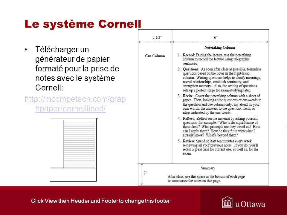 Click View then Header and Footer to change this footer Le système Cornell Télécharger un générateur de papier formaté pour la prise de notes avec le