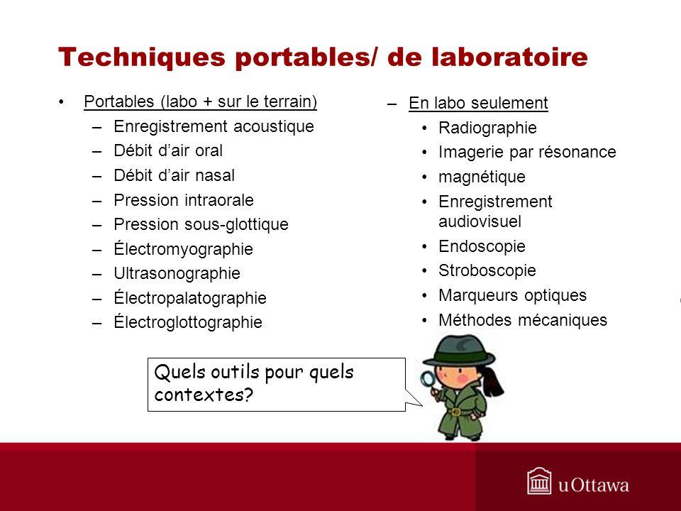 Techniques portables/ de laboratoire Portables (labo + sur le terrain) –Enregistrement acoustique –Débit dair oral –Débit dair nasal –Pression intraor