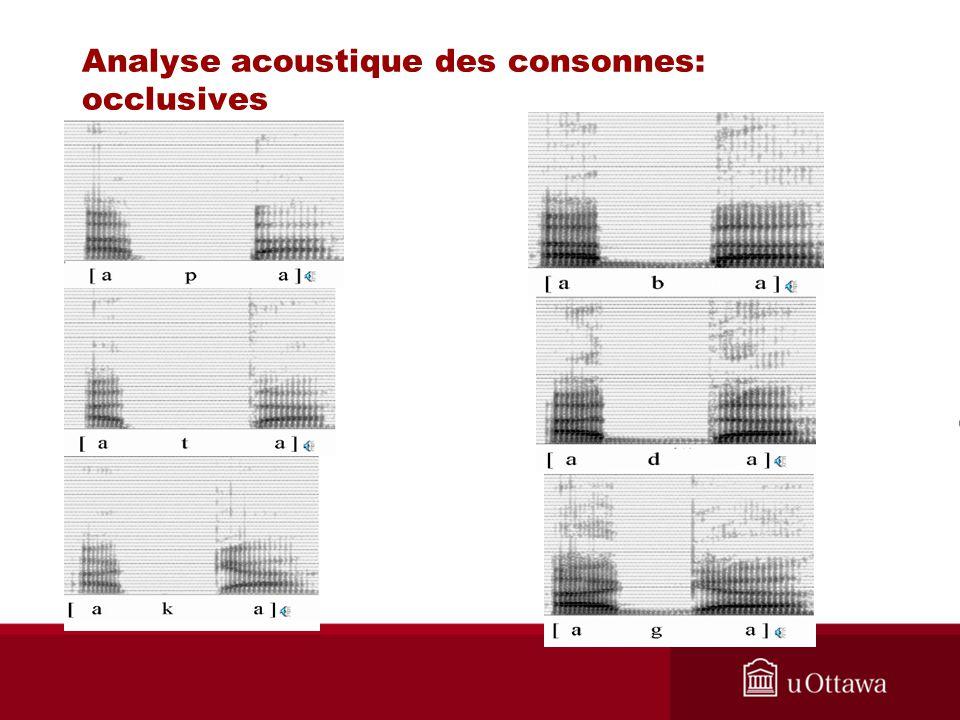 Analyse acoustique des consonnes: occlusives