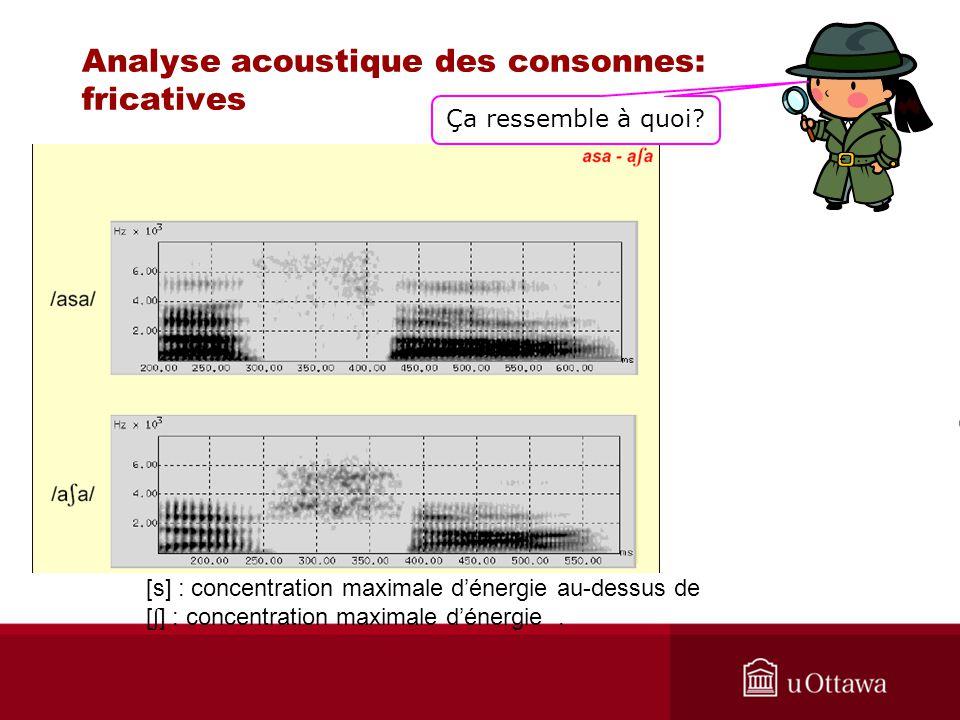 Analyse acoustique des consonnes: fricatives [s] : concentration maximale dénergie au-dessus de [ ʃ ] : concentration maximale dénergie. Ça ressemble