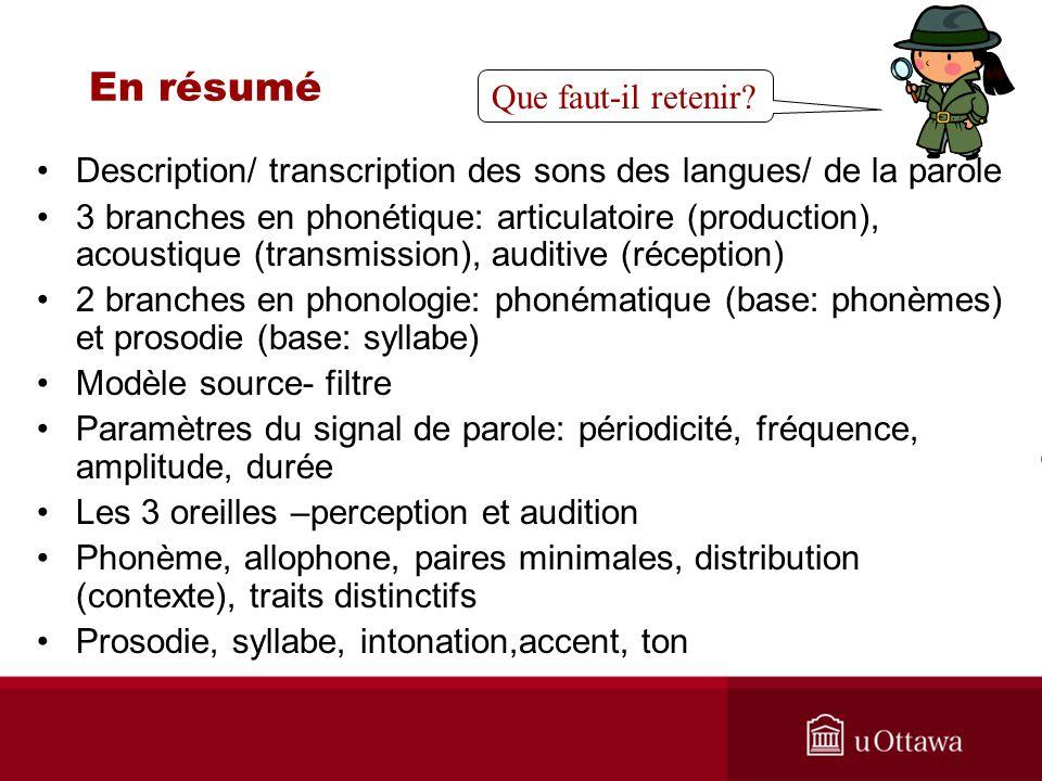 Sites web pour pratiquer la transcription: FRANCAIS http://www.phonetique.ulaval.ca/exerc.html http://www.sfu.ca/fren270/phonetique/exercice.html ANGLAIS http://www.ic.arizona.edu/~lsp/IPAExercises/Transcription1/Tran scription1.html