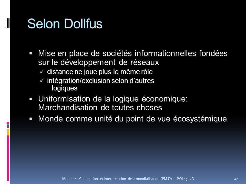 Selon Dollfus Mise en place de sociétés informationnelles fondées sur le développement de réseaux distance ne joue plus le même rôle intégration/exclu