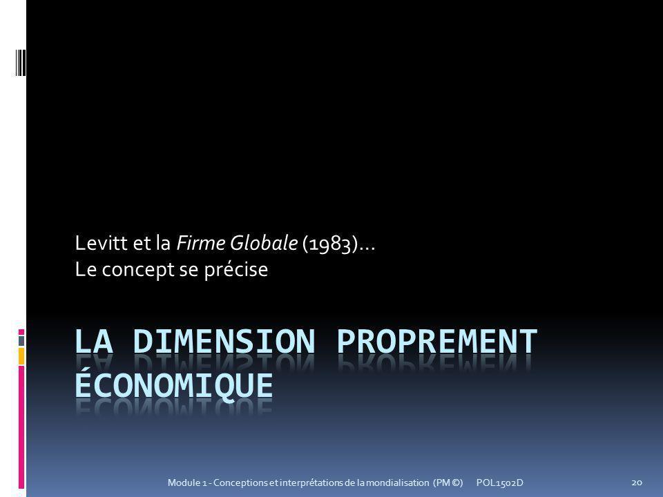 Levitt et la Firme Globale (1983)… Le concept se précise POL1502D 20 Module 1 - Conceptions et interprétations de la mondialisation (PM ©)