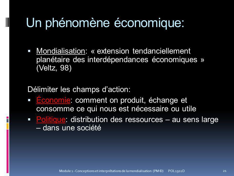 Un phénomène économique: Mondialisation: « extension tendanciellement planétaire des interdépendances économiques » (Veltz, 98) Délimiter les champs d