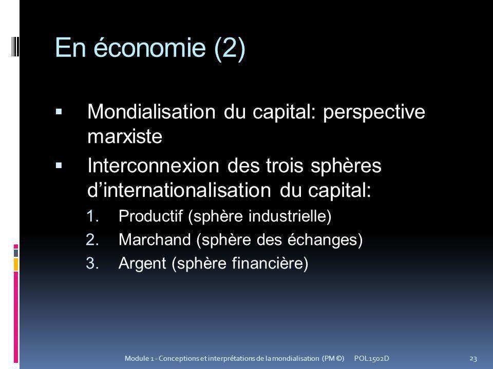 En économie (2) Mondialisation du capital: perspective marxiste Interconnexion des trois sphères dinternationalisation du capital: Productif (sphère i