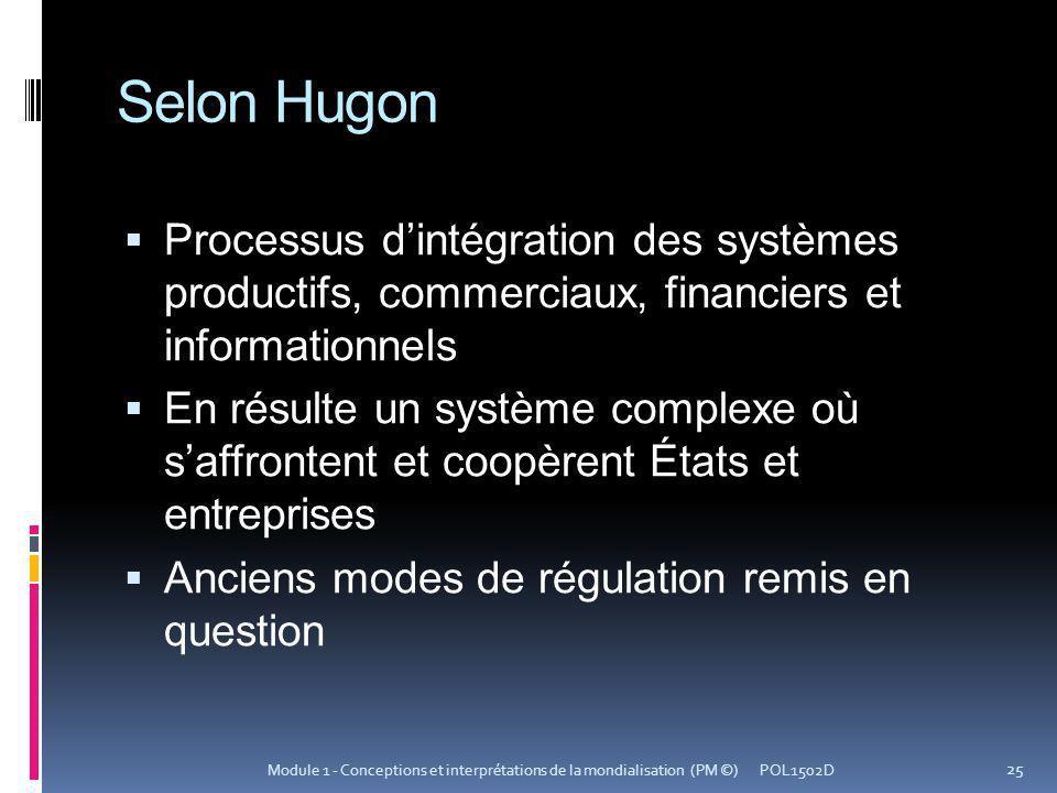 Selon Hugon Processus dintégration des systèmes productifs, commerciaux, financiers et informationnels En résulte un système complexe où saffrontent e