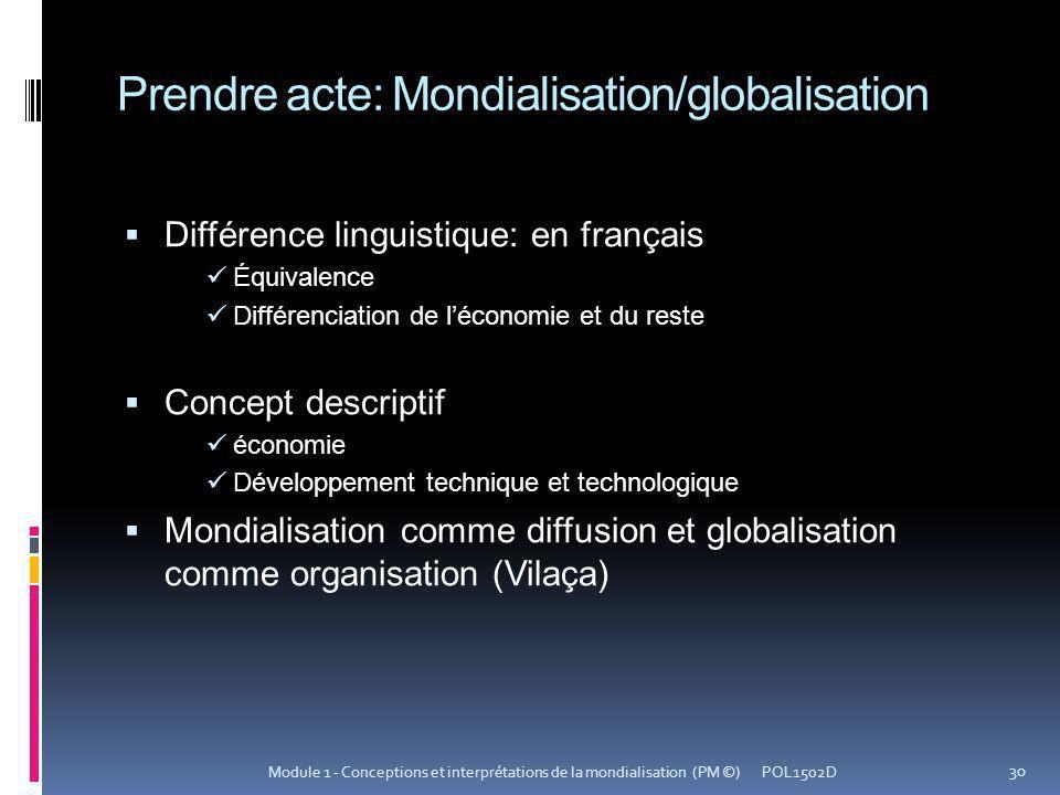 Prendre acte: Mondialisation/globalisation Différence linguistique: en français Équivalence Différenciation de léconomie et du reste Concept descripti