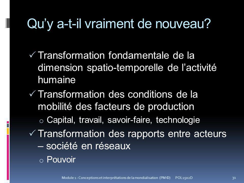 Quy a-t-il vraiment de nouveau? Transformation fondamentale de la dimension spatio-temporelle de lactivité humaine Transformation des conditions de la