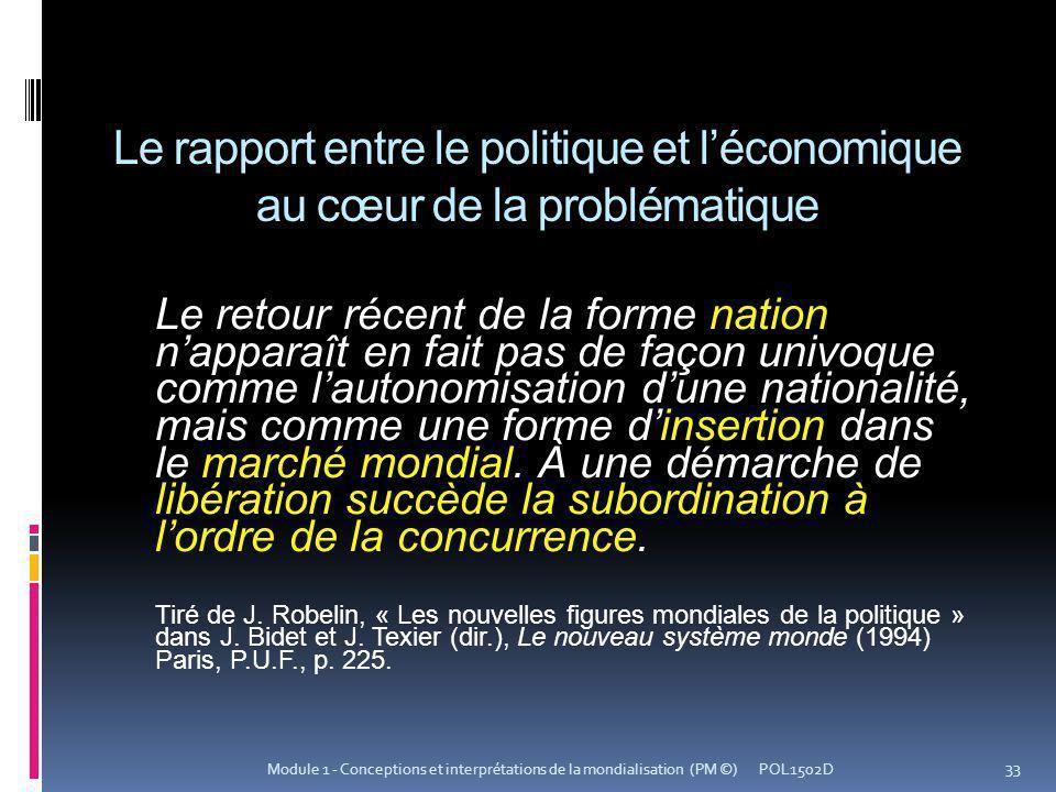 Le rapport entre le politique et léconomique au cœur de la problématique Le retour récent de la forme nation napparaît en fait pas de façon univoque c