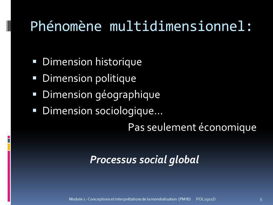 Phénomène multidimensionnel: Dimension historique Dimension politique Dimension géographique Dimension sociologique… Pas seulement économique Processus social global POL1502D 5 Module 1 - Conceptions et interprétations de la mondialisation (PM ©)