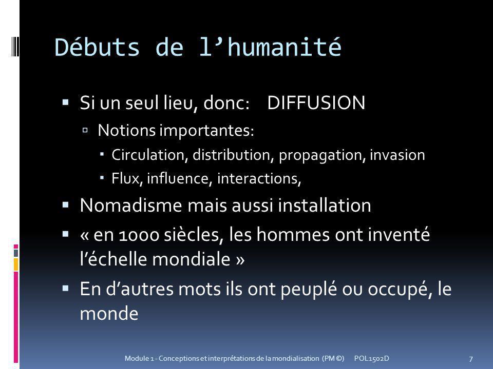 Débuts de lhumanité Si un seul lieu, donc: DIFFUSION Notions importantes: Circulation, distribution, propagation, invasion Flux, influence, interactio