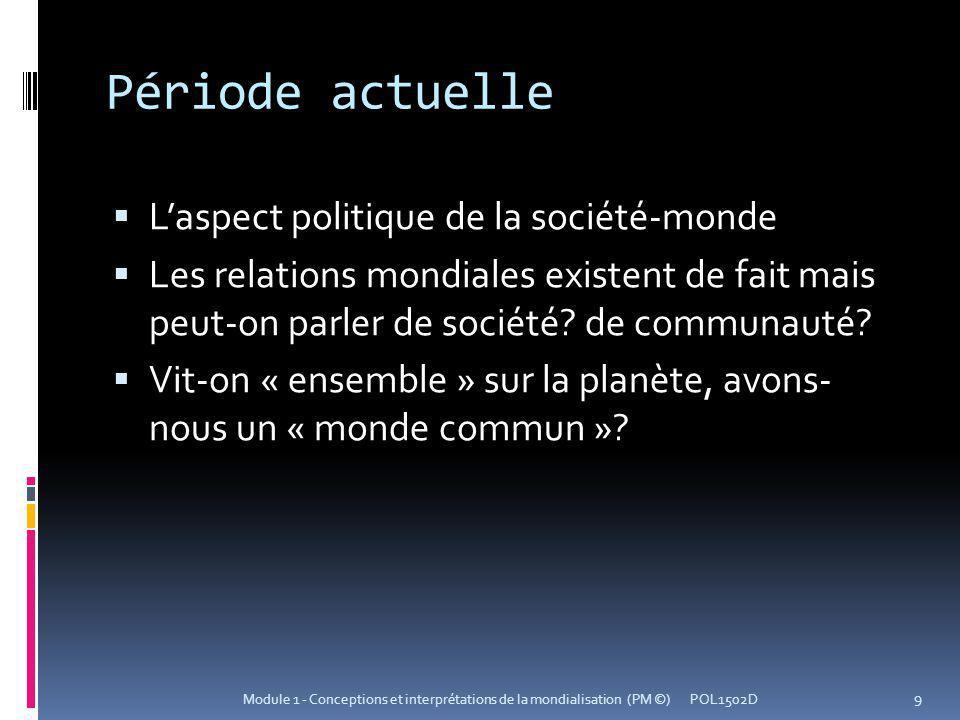 Période actuelle Laspect politique de la société-monde Les relations mondiales existent de fait mais peut-on parler de société? de communauté? Vit-on