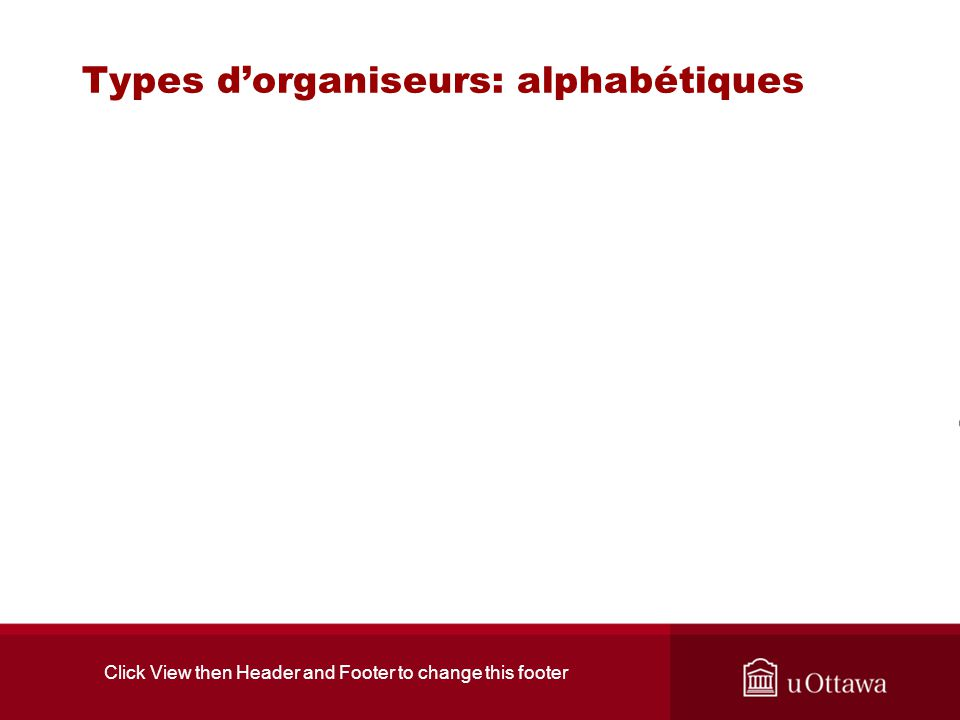 Click View then Header and Footer to change this footer Types dorganiseurs: alphabétiques