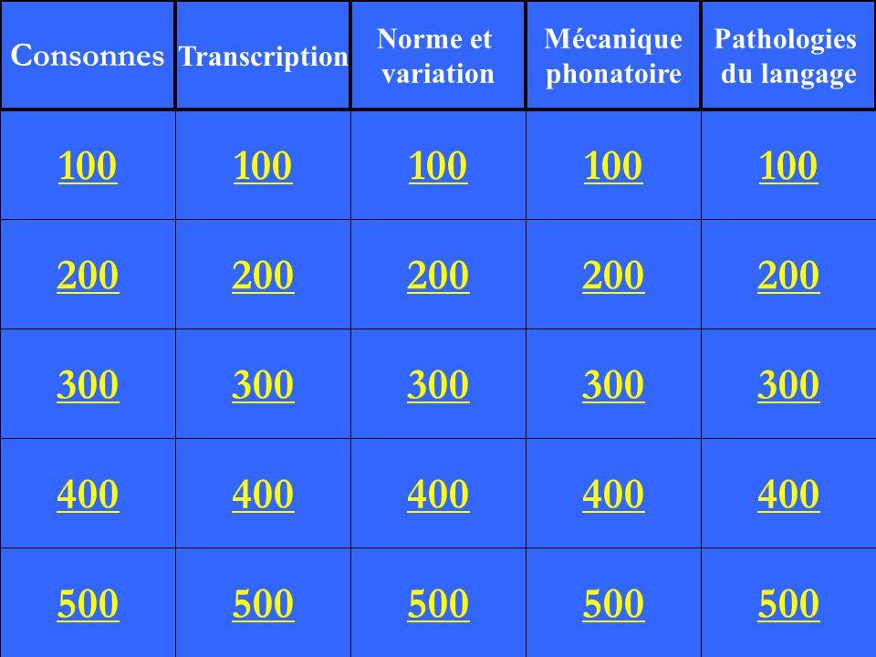 200 300 400 500 100 200 300 400 500 100 200 300 400 500 100 200 300 400 500 100 200 300 400 500 100 Consonnes Transcription Norme et variation Mécanique phonatoire Pathologies du langage