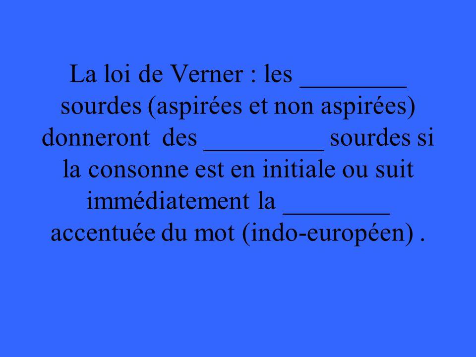 La loi de Verner : les ________ sourdes (aspirées et non aspirées) donneront des _________ sourdes si la consonne est en initiale ou suit immédiatement la ________ accentuée du mot (indo-européen).