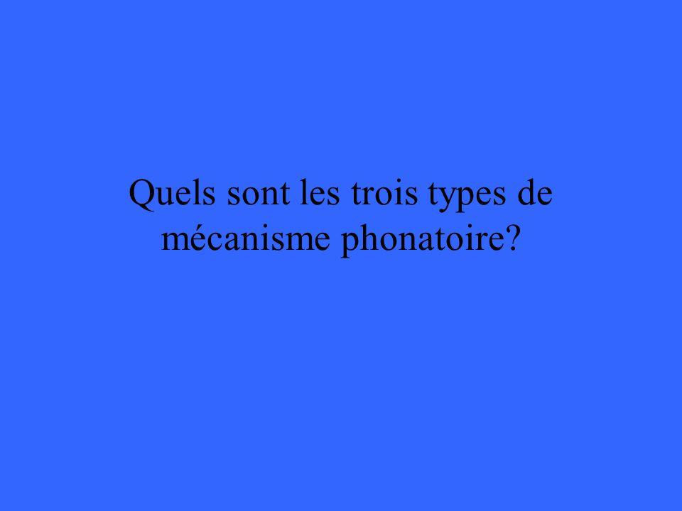 Quels sont les trois types de mécanisme phonatoire?