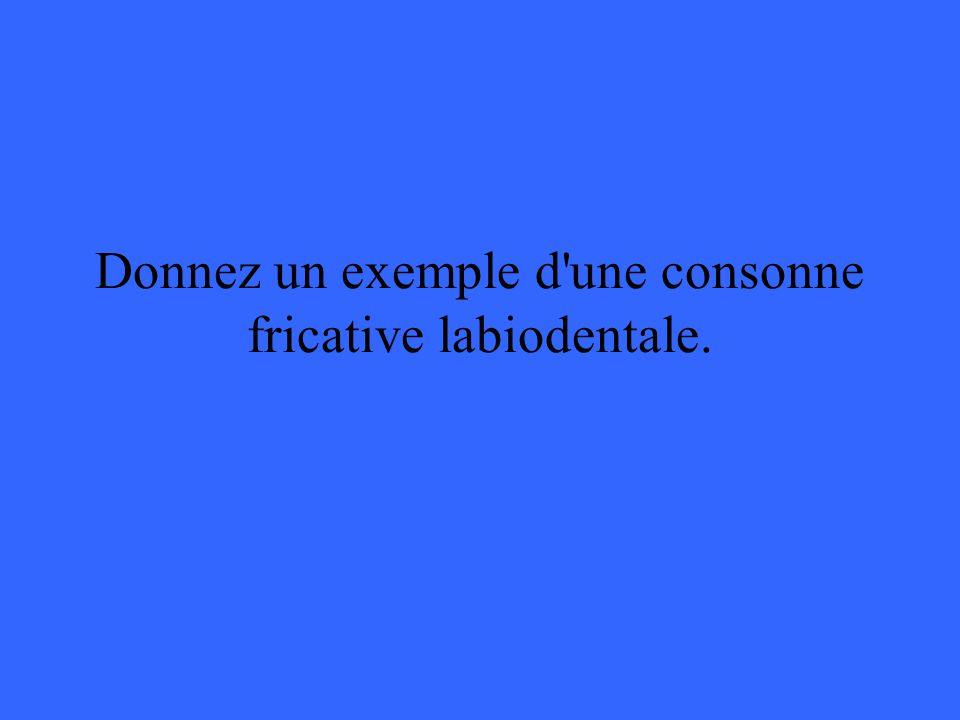 Donnez un exemple d une consonne fricative labiodentale.