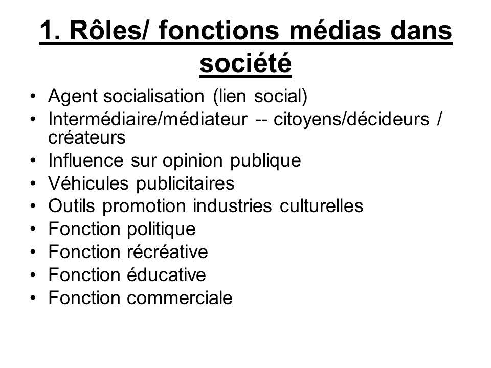1. Rôles/ fonctions médias dans société Agent socialisation (lien social) Intermédiaire/médiateur -- citoyens/décideurs / créateurs Influence sur opin