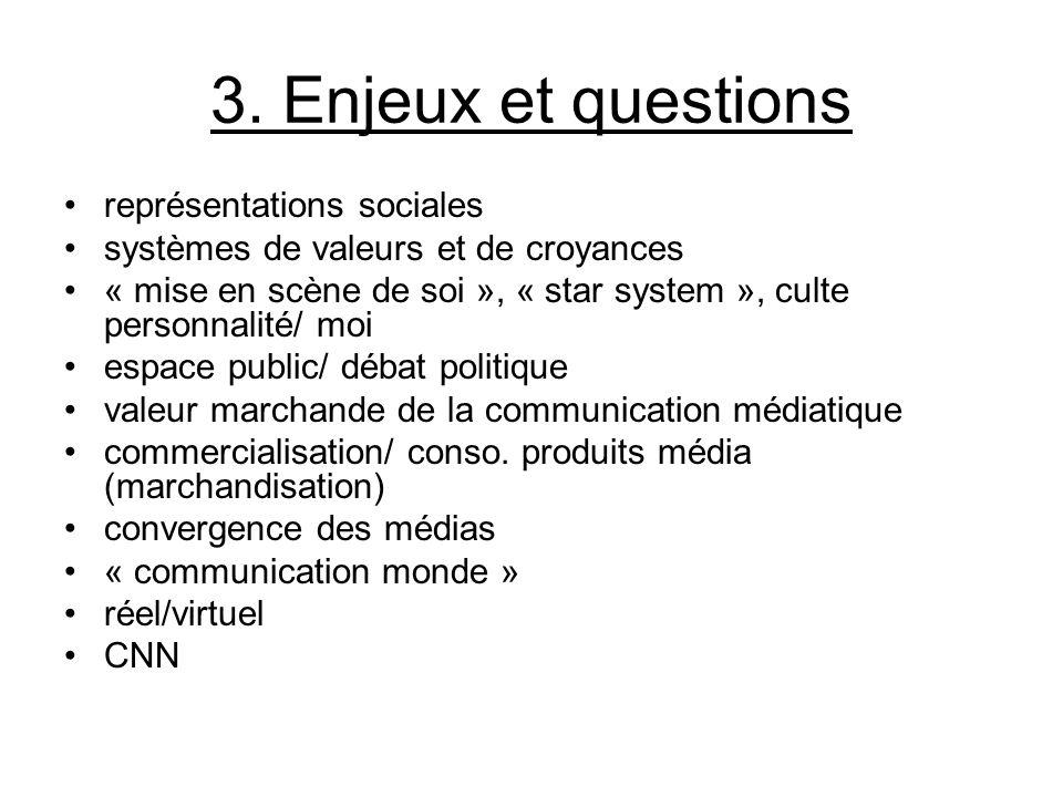 3. Enjeux et questions représentations sociales systèmes de valeurs et de croyances « mise en scène de soi », « star system », culte personnalité/ moi