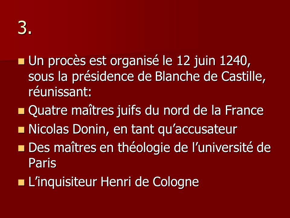 3. Un procès est organisé le 12 juin 1240, sous la présidence de Blanche de Castille, réunissant: Un procès est organisé le 12 juin 1240, sous la prés
