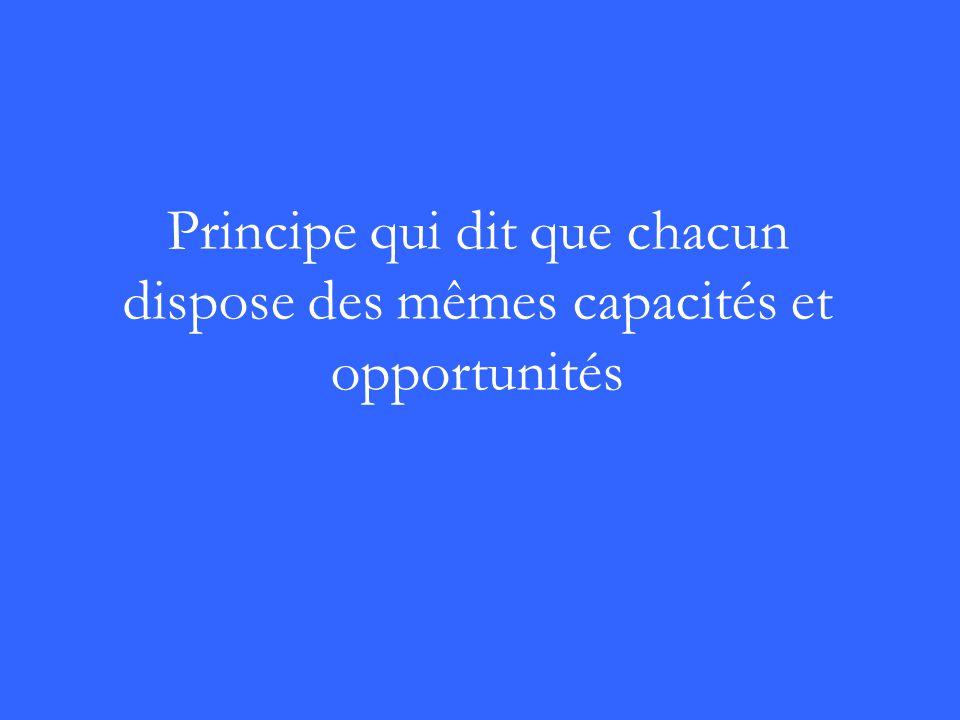 Principe qui dit que chacun dispose des mêmes capacités et opportunités