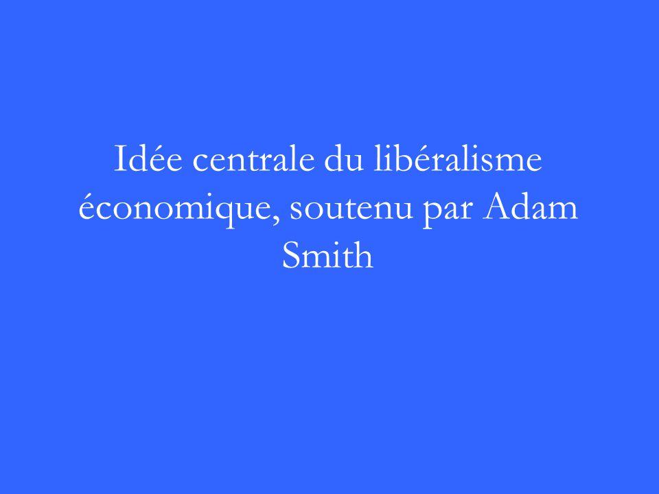 Idée centrale du libéralisme économique, soutenu par Adam Smith