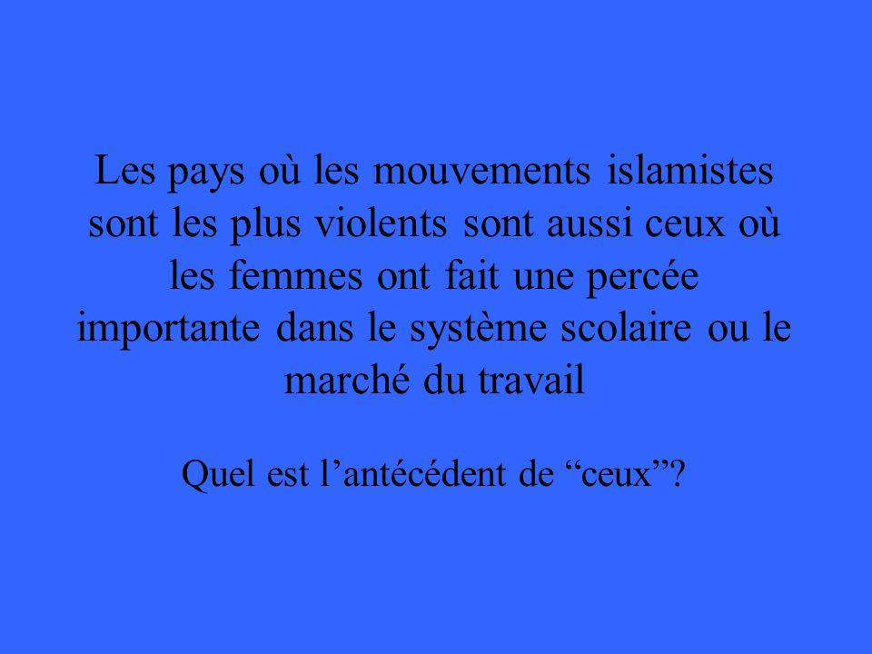 Les pays où les mouvements islamistes sont les plus violents sont aussi ceux où les femmes ont fait une percée importante dans le système scolaire ou
