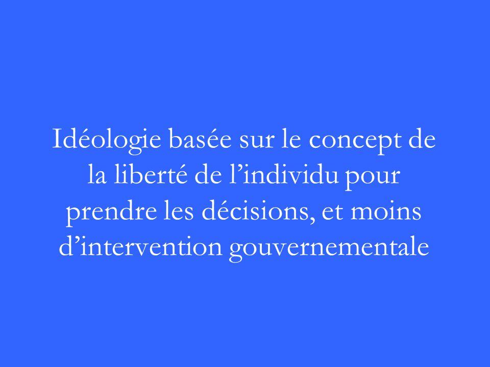 Idéologie basée sur le concept de la liberté de lindividu pour prendre les décisions, et moins dintervention gouvernementale