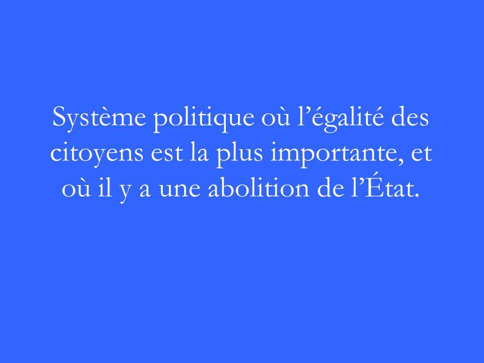 Système politique où légalité des citoyens est la plus importante, et où il y a une abolition de lÉtat.