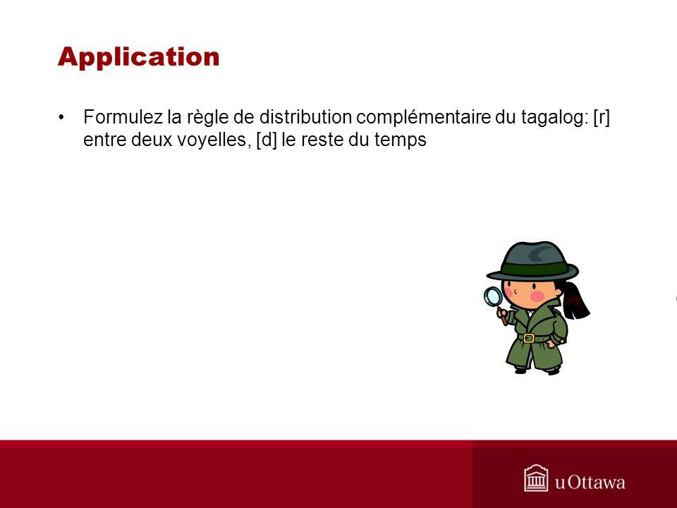 Application Formulez la règle de distribution complémentaire du tagalog: [r] entre deux voyelles, [d] le reste du temps